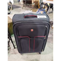MEDIUM SIZE BLACK WITH RED TRIM SWISS ROLLING SUITCASE