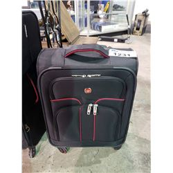 SMALL SIZE BLACK WITH RED TRIM SWISS ROLLING SUITCASE