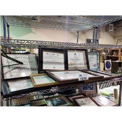 ASSORTED SET DEC PROP FRAMED CHARACTER CERTIFICATES & AWARDS