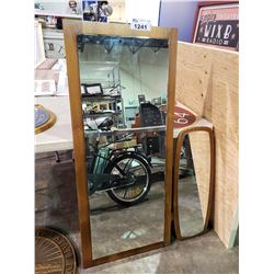 2 WOODEN FRAMED MIRRORS