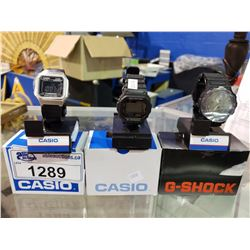 3 NEW ELECTRIC WRIST WATCHES (2 CASION 1 G-SHOCK)