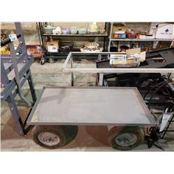 METAL ROLLING CART WITH FLAT TIRE