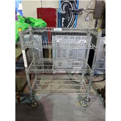 3 TIER METAL ROLLING CART