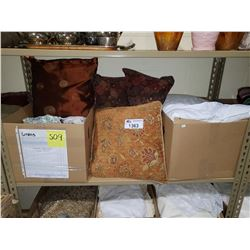 ASSORTED DECORATIVE PILLOWS, SLEEPING PILLOWS, & CLOTHS