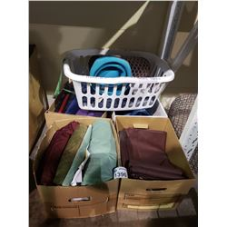 4 BOXES & 1 HAMPER OF ASSORTED TEXTILES