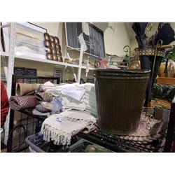 ASSORTED TOWELS, UMBRELLAS + HOLDER, TRASH BIN, & FLOOR MATS