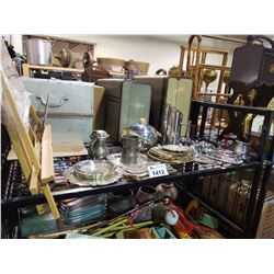 ASSORTED SILVER PLATED WARE & MINI ART EASEL