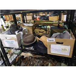 ASSORTED FAUX FURS, FEDORAS, & MORE