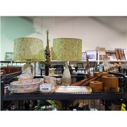 2 TABLE LAMPS, ASSORTED WOODEN HOME DECOR, & COLORFUL BOWLS