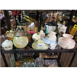 ASSORTED OIL LAMPS, TABLE LAMPS, & GLASS SHADES