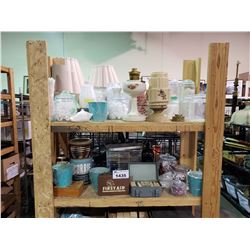 ASSORTED VINTAGE OFFICE SUPPLIES, FIRST AID SUPPLIES, OIL LAMP, CANDLE BUCKETS, & MORE