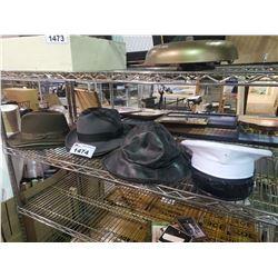 ASSORTED FEDORAS, RAIN HAT, & CAPTAINS HAT