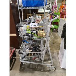 CART WITH ASSORTED TOOLS, TV STAND, REMOTE, & MORE