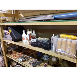 ASSORTED RICHARDS KNIVES SUNSCREENS/OILS DRAIN PIPE CLEANER PRODUCTS, TOOL BOXES, ABSORBENT PADS,