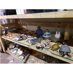 ASSORTED ANIMAL TOYS, VASES, & OIL LAMPS