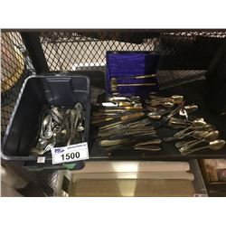 ASSORTED CUTLERY (SOME SILVER) BRASS HAMMER AND KNIFE