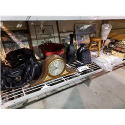 ASSORTED HOME DECOR, CLOCK, BAG, & MORE