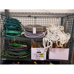 ASSORTED HOSES, ROPE, PAINT BRUSHES, & MORE