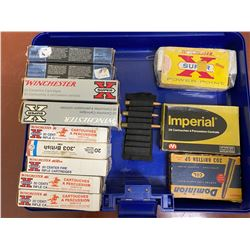 PLASTIC BOX WITH 12 BOXES .303 BRITISH (NOT ALL FULL)