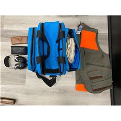RANGE BAG WITH EAR/EYE PROTECTION, CLEANING KITS, HUNTING VEST AND MORE