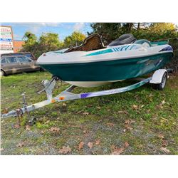 BOAT ON TRAILER, NO KEYS, RUNNING CONDITION UNKNOWN, NO REGISTRATION FOR TRAILER *MUST TOW*