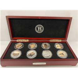 BRADFORD EXCHANGE BOX COIN COLLECTION LABELED '70TH ANNIVERSARY D-DAY SILVER CROWNS'