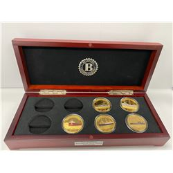 BRADFORD EXCHANGE BOX COIN COLLECTION LABELED 'THE LEGENDARY SHIPWRECKS GOLD CROWN COLLECTION'