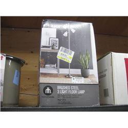 HOMETRENDS BRUSHED STEEL 3 LIGHT FLOOR LAMP