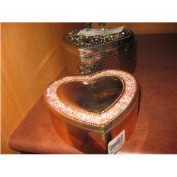 PAIR OF HEART TRINKET BOXES