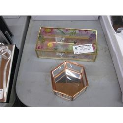PAIR OF GLASS DISPLAY TRINKET BOXES