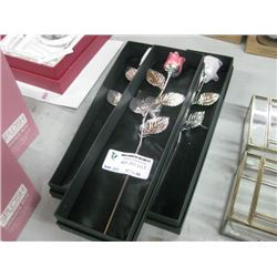 3PC SILVER PLATED METAL PINK ROSES