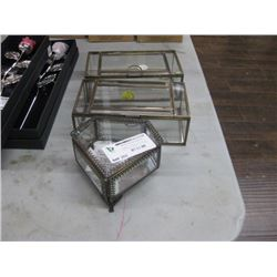 3PC GLASS TRINKET JEWEL BOXES
