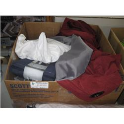 BOX OF ASSORTED LINEN AND PANELS