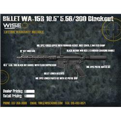 """WISE ARMS 10.5"""" BILLET 300 BLACKOUT W/ 10"""" RAIL"""