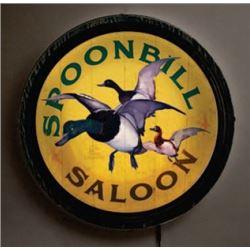 Spoonbill Saloon Light Up Wood Barrel End