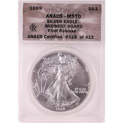 1989 $1 American Silver Eagle Coin ANACS MS70 First Release