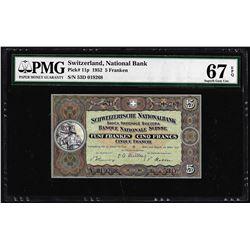 1952 Switzerland 5 Franken Note Pick# 11p PMG Superb Gem Uncirculated 67EPQ