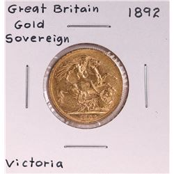 1892 Great Britain Sovereign Gold Coin
