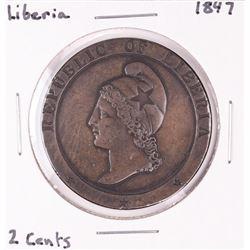 1847 Liberia 2 Cents Copper Coin