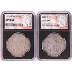 Lot of 1921 & 1921-D $1 Morgan Silver Dollar Coins NGC Genuine