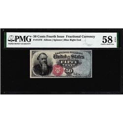 1863 50 Cents Fourth Issue Fractional Note Fr.1376 PMG Ch. About Uncirculated 58EPQ
