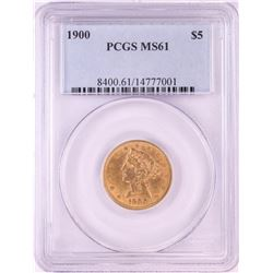 1900 $5 Liberty Head Half Eagle Gold Coin PCGS MS61