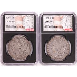 Lot of 1891 & 1892-O $1 Morgan Silver Dollar Coins NGC Genuine