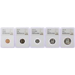 1954 (5) Coin Proof Set NGC Graded PF66RD/PF67/PF68