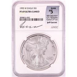1995-W $1 Proof American Silver Eagle Coin PNGC PF69 Ultra Cameo Jeff Garrett Signature