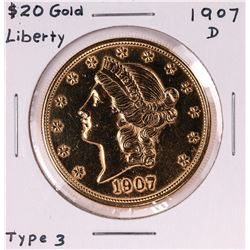 1907-D $20 Liberty Head Double Eagle Gold Coin