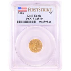 2008 $5 American Gold Eagle Coin PCGS MS70 First Strike