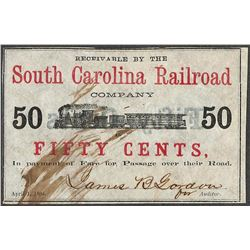 1864 Fifty Cents South Carolina Railroad Obsolete Note