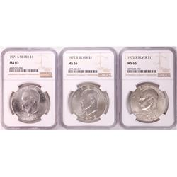 Lot of 1971-S to 1973-S Eisenhower Silver Dollar Coins NGC MS65