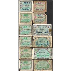 Lot of (12) Miscellaneous Japan Yen Military Currency Notes